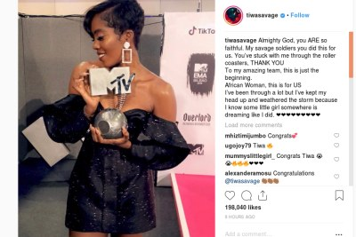 Tiwa Savage wins Best African Act at MTV EMA.