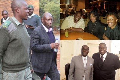 Former energy and power development minister Samuel Undenge, left. and Harare businessman Wicknell Chivayo with the Mugabes.