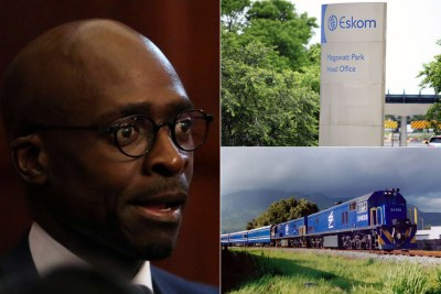 Left: Former home affairs minister Malusi Gigaba. Top-right: Eskom's Megawatt Park Head Office. Bottom-right: Transnet locomotive.
