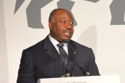 Ali Bongo Ondimba, President of Gabon, speaking at the Illegal Wildlife Trade Conference in London on October 11, 2018.