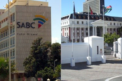 Left: SABC headquarters in Sea Point. Right: National Assembly.