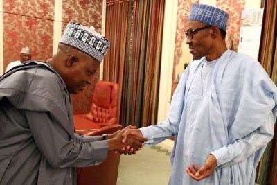 President Muhammadu Buhari and Borno State Governor Kashim Shettima.