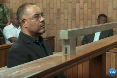 Mozambique's former finance minister Manuel Chang appears in court during an extradition hearing in Johannesburg.