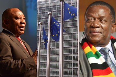 Left: South African President Cyril Ramaphosa. Centre: European Union flags. Right: Zimbabwean President Emmerson Mnangagwa.