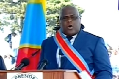 Felix Tshisekedi speaks after being sworn in as president of the Democratic Republic of Congo.