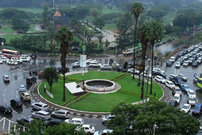 An aerial view of the Kenyatta Avenue - Uhuru highway roundabout.