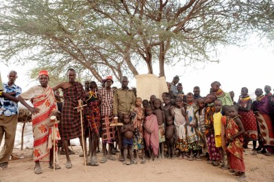 Members of the community pose in Chok Chok in Kenya's Turkana country on July 2012.