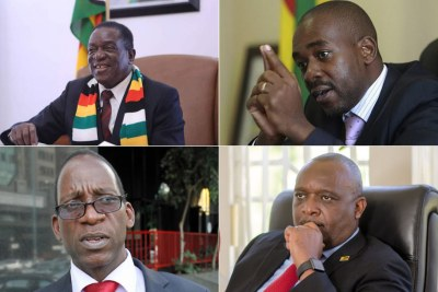 Top from left: President Emmerson Mnangagwa and MDC leader Nelson Chamisa. Bottom from left: NCA leader Lovemore Madhuku and Build Zimbabwe Alliance leader Noah Manyika.