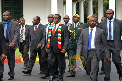 President Emmerson Mnangagwa arriving for the meeting at State House.