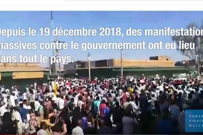 Depuis le 19 décembre 2018, des manifestations massives contre le gouvernement ont eu lieu au Soudan. Les forces de sécurité ont réagi brutalement, tuant ou blessant de nombreux manifestants. Il faut mettre fin à ce recours à la force excessive, et mener une enquête internationale afin de tenir les auteurs d'abus (ou donneurs d'ordres) responsables de leurs actes.
