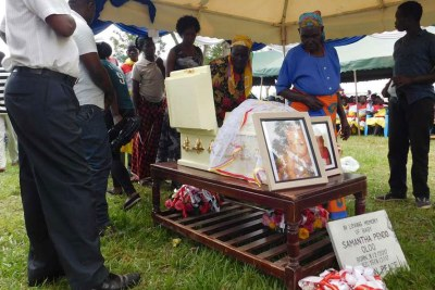 Mourners pay their last respects to Baby Samantha Pendo on August 26, 2017