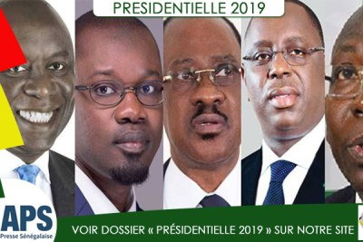 The five candidates contesting for president in Senegal.