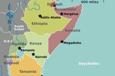 A map showing Kenya and Somalia.