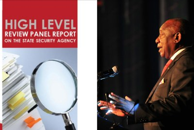Left: Screenshot from the High-Level Review Panel on the SSA report released by the Presidency. Right: President Cyril Ramaphosa.