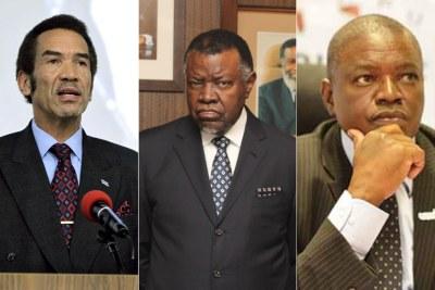 From left, Former Botswana president Ian Khama, Namibian President Hage Geingob and Botswana President Mokgweetsi Masisi.