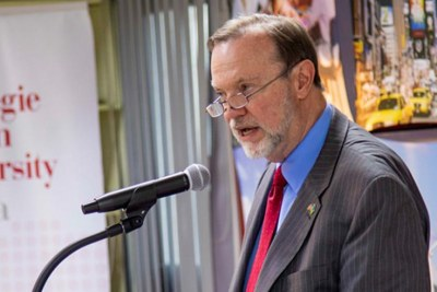 Tibor Nagy, United States Assistant Secretary for the Bureau of African Affairs, delivers his keynote address at Carnegie Mellon University yesterday.