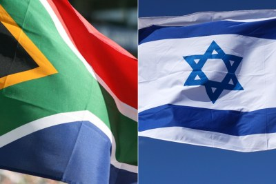 Flags of South Africa, left, and Israel, right.