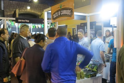 Visitors browse a range of marijuana-infused edibles at the Cannabis Expo.