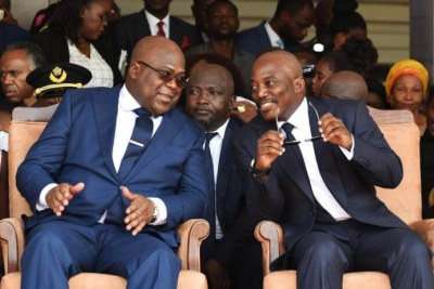 Former president Joseph Kabila (right) with his successor Félix Antoine Tshisekedi.