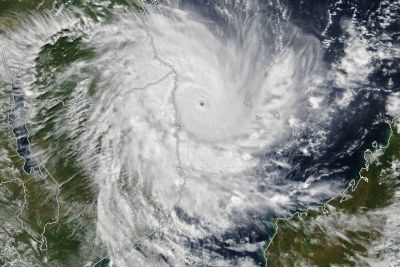 On April 25, 2019, the Moderate Resolution Imaging Spectroradiometer on NASA's Terra satellite acquired this natural-color image of Tropical Cyclone Kenneth just before landfall near the border of Mozambique and Tanzania. Around the time of the image, the U.S. Joint Typhoon Warning Center estimated sustained winds of 120 knots (220km/h).