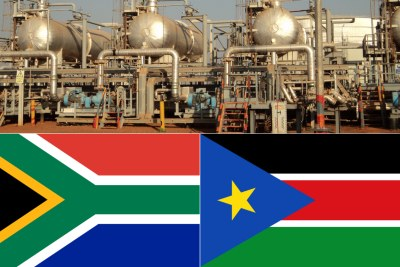Top: Oil storage facilities at Bentiu, Unity State, South Sudan. Bottom-left: South African flag. Bottom-right- Flag of South Sudan.