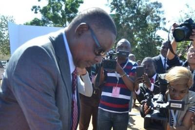 President Peter Mutharika voting at Goliati, in Thyolo.