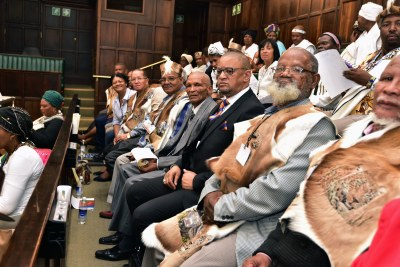 Members of the National House of Traditional Leaders and guests arrive at the Old Chambers in Parliament for the official opening of the National House of Traditional Leaders (file photo).