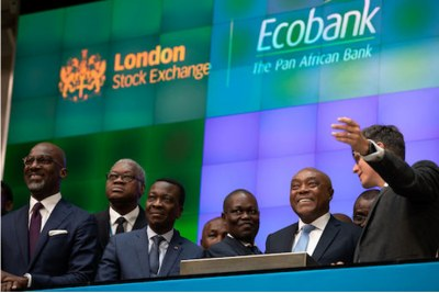 Ecobank Chairman Emmanuel Ikazoboh (2nd from left) opens the London 