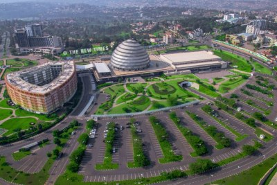 An aerial view of Kigali Convention Centre and its environs in Kimihurura.