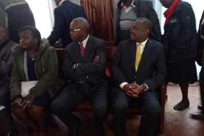 Henry Rotich (right), Kamau Thugge and Susan Koech at court