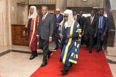 President Uhuru Kenyatta, Deputy President William Ruto, Speakers Justin Muturi, National Assembly, and Kenneth Lusaka, Senate, and Chief Justice David Maraga arrive at parliament in Nairobi for the President's State of the Nation address, April 4, 2019.