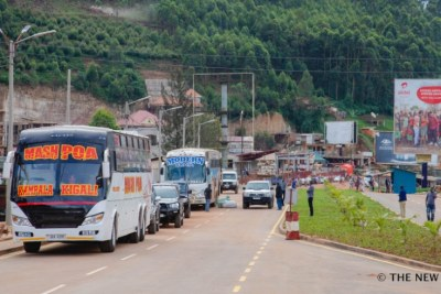 Vehicles from Uganda cross into Rwanda at Gatuna One-Stop Border Post in Gicumbi District.
