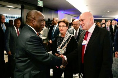 President Cyril Ramaphosa arrives at 2019 World Economic Forum on Africa breakfast in Cape Town on September 4, 2019. The breakfast was hosted by Brand South Africa.