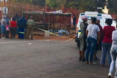 "Crime scene in White City Section of Kwathema township. ""It is alleged that a group of people wanted to attack a shop owned by a foreign national. The landlord came out to rescue the shop owner. He warned and threatened the group of people that were outside his yard. A fight ensued when he saw that he was overpowered he took out his licensed firearm and started shooting randomly. The 35-year-old suspect was traced, arrested and detained at Kwathema SAPS,"" said a police statement."