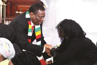 President Emmerson Mnangagwa commiserates with former president Robert Mugabe's widow Grace Mugabe in Borrowdale Brooke, Harare.