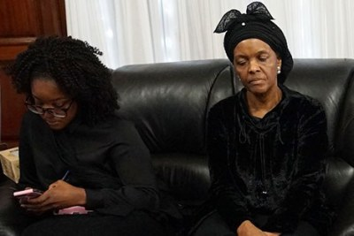 Former First Lady Grace Mugabe (right) with daughter Bona.