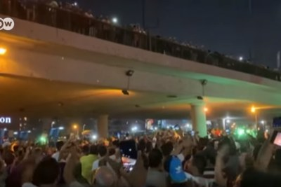 Video screenshot of anti-government protests in Cairo.