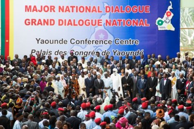 People gather at the Congress Palace during the opening session of the National Dialogue called by President Paul Biya, in Yaounde, Cameroon on September 30, 2019.