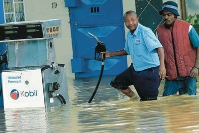 A flooded fuel station in Mombasa following the ongoing heavy rains.