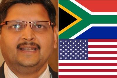 Left: Atul Gupta. Top-right: South African flag. Bottom-right: U.S. flag.