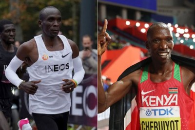 From left to right - World marathon record holder Eliud Kipchoge and World 1500m champion Timothy Cheruiyot.