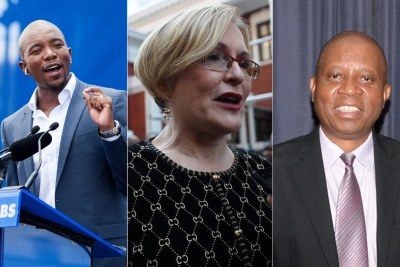 Democratic Alliance leader Mmusi Maimane, left; new DA Federal Council Chairperson, Helen Zille, centre; and Johannesburg Mayor Herman Mashaba.