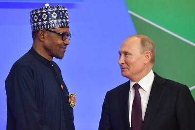 Nigeria's President Muhammadu Buhari and Russia's President Vladimir Putin during the official welcoming ceremony by Russian President Vladimir Putin for the heads of state and government of states participating in the 2019 Russia-Africa Summit in Sochi, Russia, 23 October 2019.