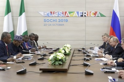 Nigeria President Muhammadu Buhari (2nd L) and Russia's President Vladimir Putin (R) during a meeting on the sidelines of the 2019 Russia-Africa Summit at the Sirius Park of Science and Art in Sochi, Russia, 23 October 2019.