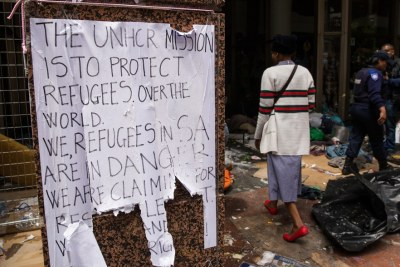 A sign put up by the refugees (file photo).