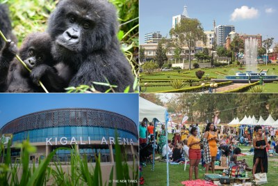 Top: Mountain gorillas and Kigali city. Bottom: Kigali Arena and Rwandans at Blankets and Wine festival (file photo).