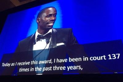 Maxence Melo  Mubyazi from Tanzania accepting the  International Press Freedom Award in New York.