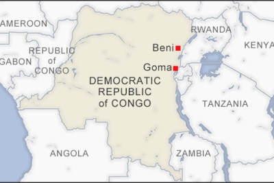 A map showing DR Congo border with Zambia.