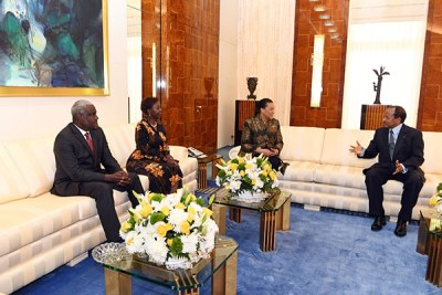 Cameroon's President Paul Biya (right) speaks to Commonwealth Secretary-General Patricia Scotland (second right). Looking on is AU Commission Chairman Moussa Faki (left) and La Francophonie Secretary-General Louise Mushikiwabo during a meeting in the Cameroonian capital Yaoundé on November 27, 2019.