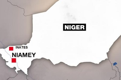Map showing the location of Inates in Niger, where armed militants ambushed an army camp, killing 71 troops.